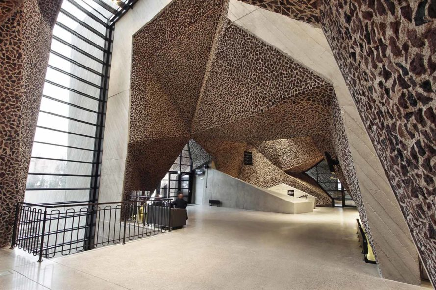 Fernando Menis, Poland, Polish architecture, music hall, concert hall, brick, concrete, picado, recyling, tenerife, Spanish architects, cave-like, torun