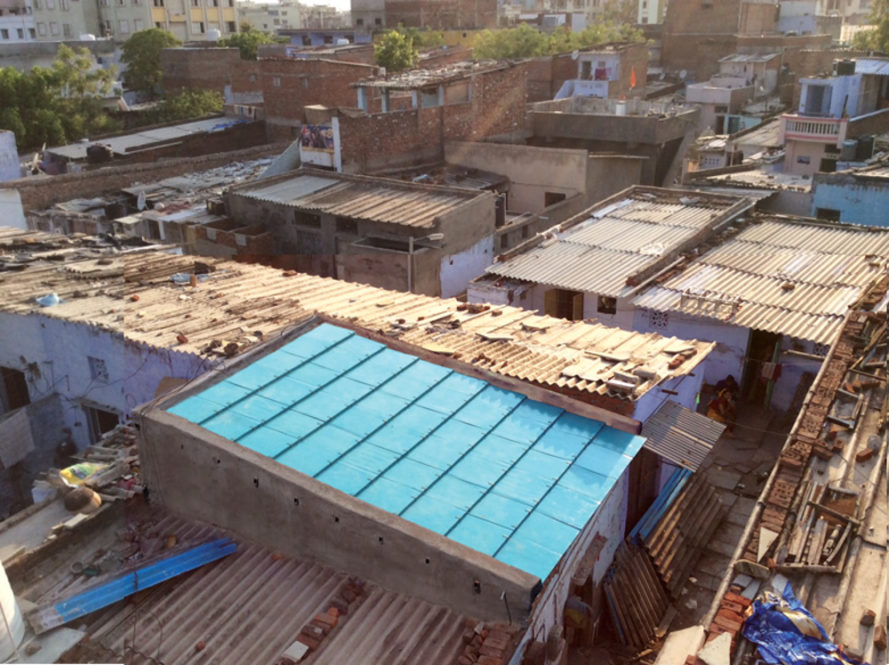 modroof, re-materials, roof, roofing, modular, roof panels, india, corrugated metal, concrete roof, sustainable materials, recycled materials, recycled cardboard