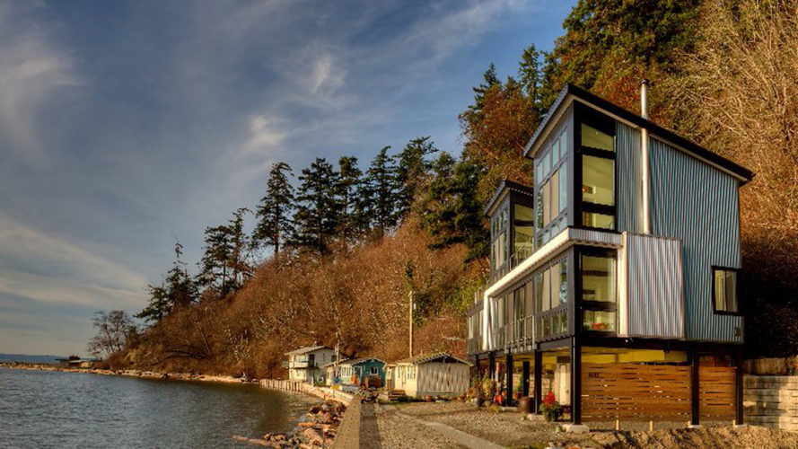 Saratoga Hill House, beach house, Camano Island, house on stils, Washington, Designs Northwest Architects, low maintenance materials, green architecture, natural light