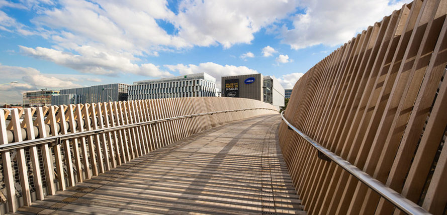 Claude Bernard overpass, DVVD, Paris, pedestrian bridge, Paris, wooden bridge, pedestrian-friendly architecture, timber bridge, green architecture, timber