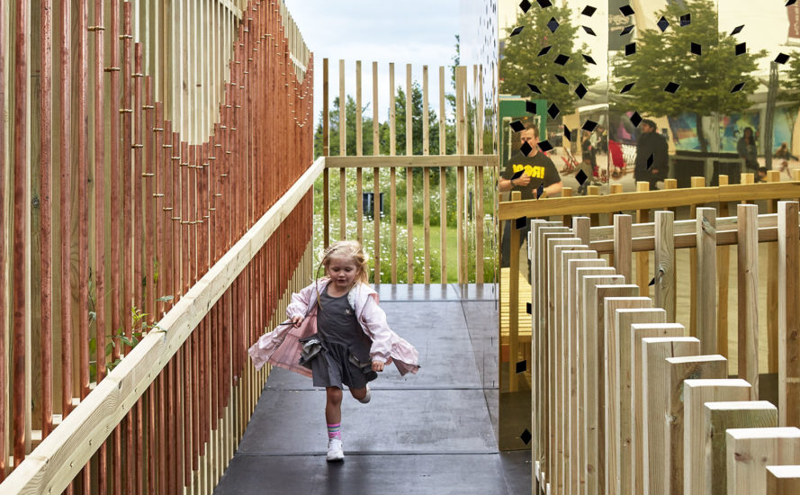 pH+ Architects, Milkshake Tree, temporary installation, London, pop-up space, green installation, London Center for Children with Cerebral Palsy (LCCCP), green design, rooftop garden, treehouse, timber