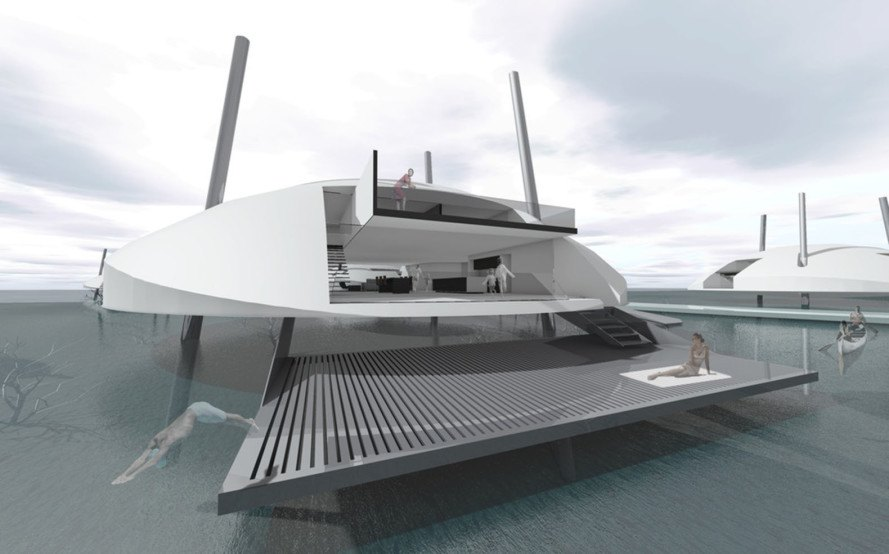 Tidal House, Terry & Terry Architecture, floating houses, offshore drilling, floating architecture, San Francisco Bay, green architecture, climate change, photovoltaics, solar panels, solar energy