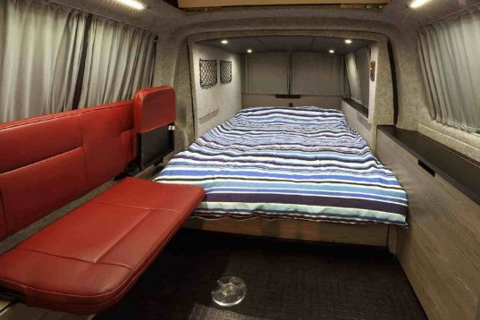 doubleback camper van extends 6 5 feet with the press of a button inhabitat green design. Black Bedroom Furniture Sets. Home Design Ideas