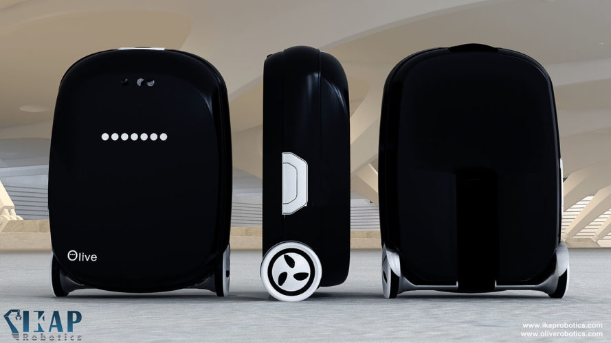 Olive, intelligent suitcase, smart suitcase, smart gadgets, robots, scooters, travel, transportation, gps, motion tracking, germany, IKAP-Robotics