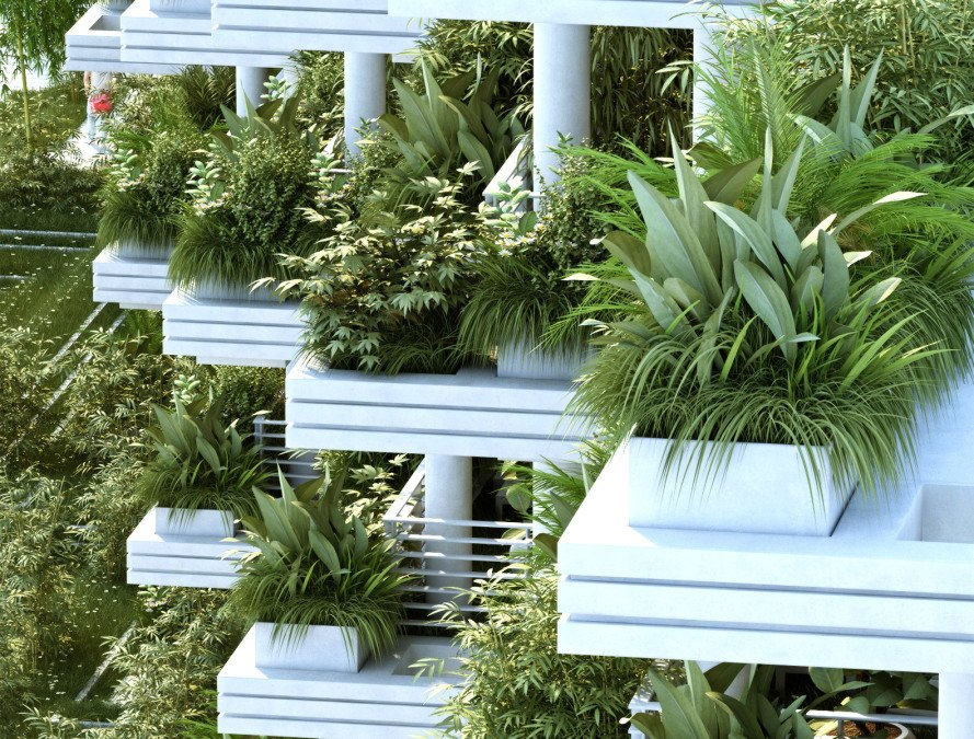 Penda, Magic Breeze, Magic Breeze by Penda, Pooja Crafted Homes, Hyderabad, India, architecture, design, balcony, balcony garden, terrace, terrace garden, garden, green space, plants