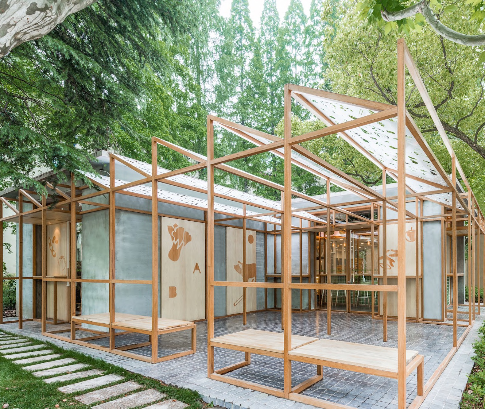 stylish shanghai eatery promotes the goodness of their food with a greenhouse like design