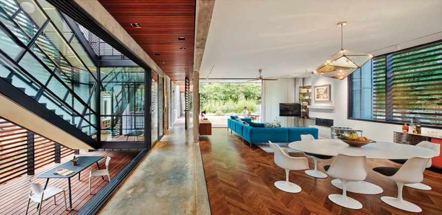 123 Hillcrest residence, North Carolina residence, Alphin Design Build, North Carolina Modernist Houses (NCMH), 2016 Matsumoto Prize Awards, flexible design, green architecture, concrete wall, rooftop terrace