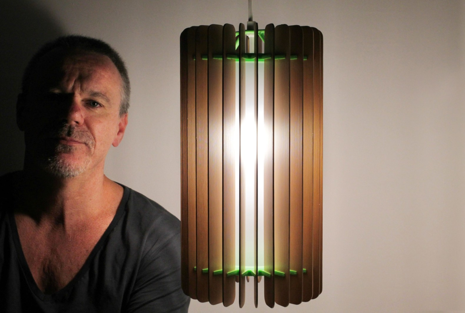Avalon upcycled lighting by Adrian Lawson, wooden venetian blind lighting, turning blinds into lamps, pendant lamps recycling, recycled materials in lights,