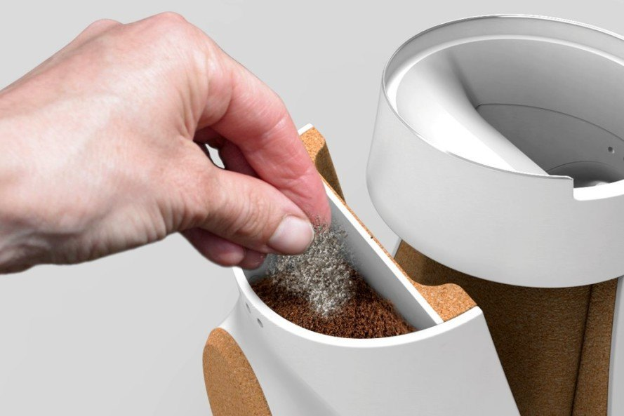 Adrián Pérez, barcelona, spain, product design, coffeemaker, coffee grounds, growing mushrooms, mushroom farm, coffee grounds as substrate for mushrooms, growing your own mushrooms, diy mushroom farm, mycelium, fungus