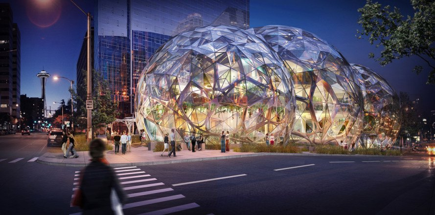 Amazon, Amazon Seattle, Amazon Seattle campus, Amazon biospheres, biospheres, Seattle biospheres, Amazon biosphere domes, NBBJ biosphere domes, NBBJ