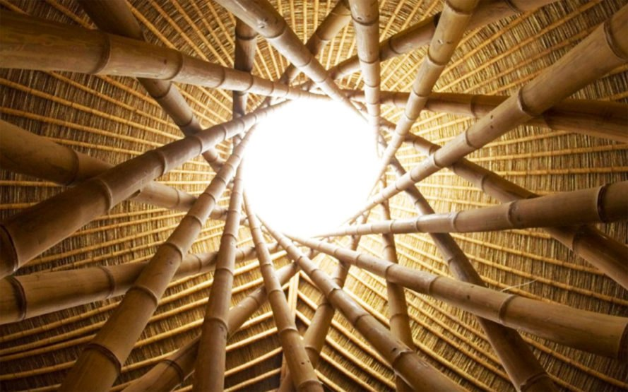Roof detail of bamboo structure, Ibuku,