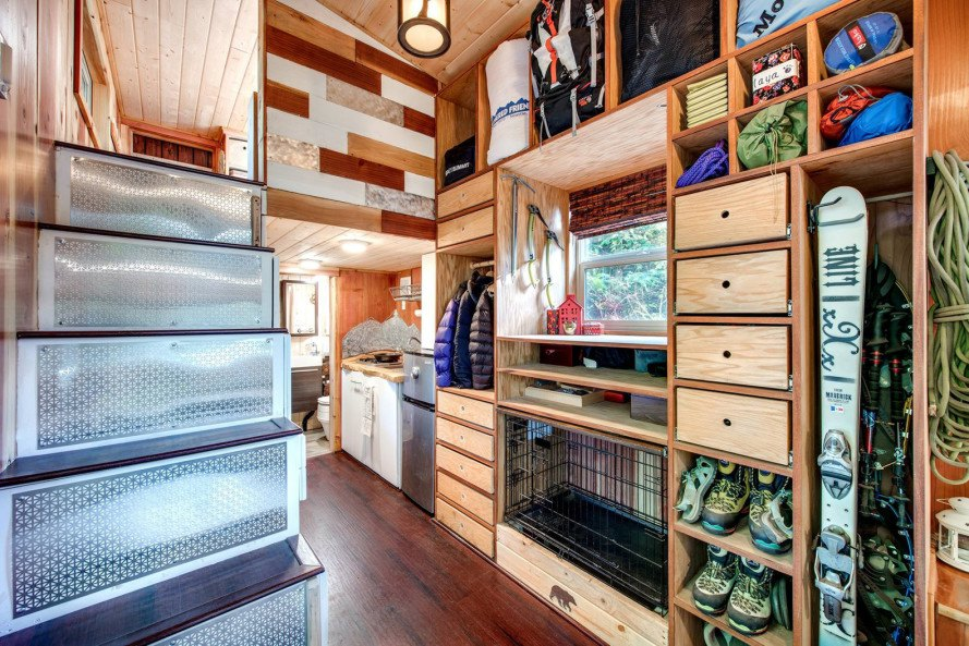 Basecamp, Backcountry Tiny Homes, Luke Orlando, Tina Orlando, tiny home, tiny homes, tiny house, tiny houses, wood, design, architecture, outdoors, deck, mountain climbing, tiny house deck, tiny home deck, tiny house design, tiny home design