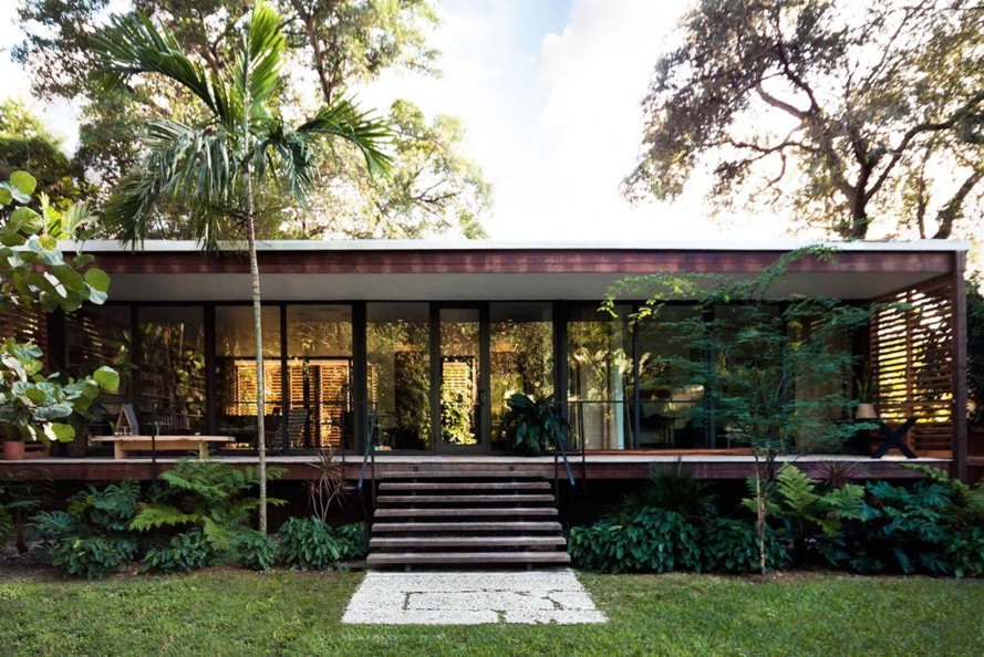 Brillhart Architecture, Breezy Miami home, Brillhart Residence, wooden shutters, crossed ventilation, open plan living, Dog Trot, American Glass Pavilion typology, Tropical Modernism