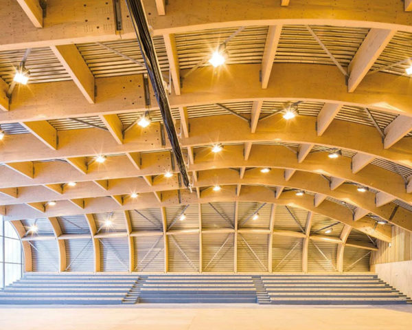 Clamart Sports Center, green roof, sports center, Paris, Gaetan Le Penhuel Architecture, educational facility, laminated wood, wooden beams, wooden frame, green architecture