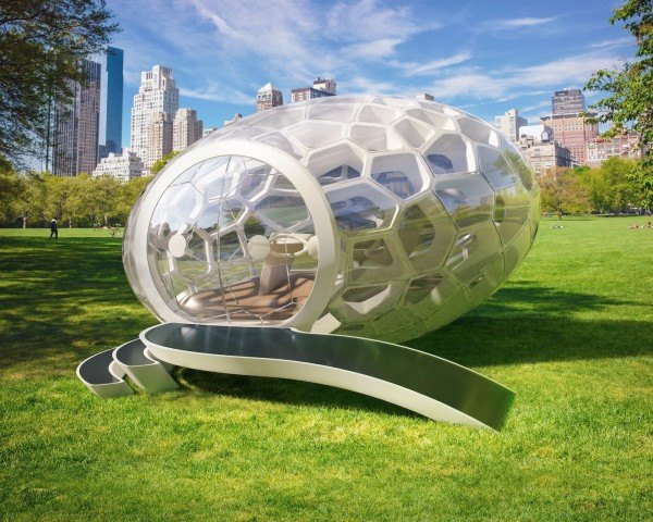 GreenPod Preorder the Future, GreenPod by Neste, Greenpod mobile workspace, egg-shaped architecture