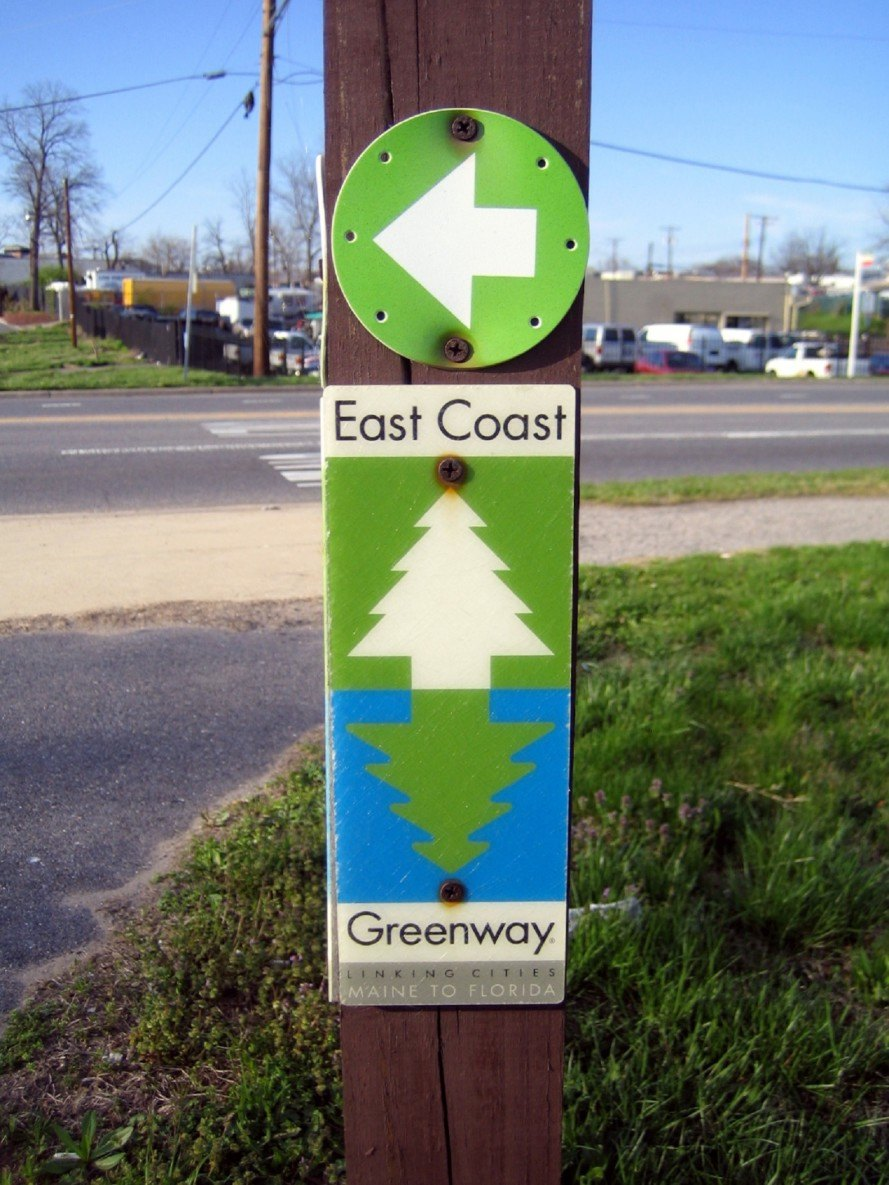 East Coast Greenway, East Coast Greenway sign, bike infrastructure