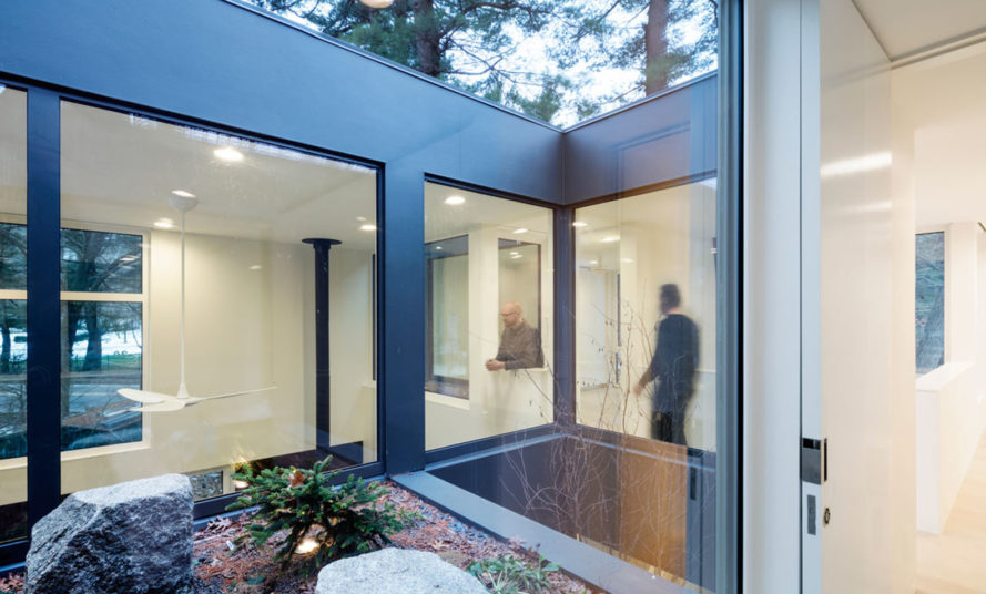 Grow Box, MERGE architects, steel facade, Massachusetts, Japanese maple trees, weathered steel, green architecture, floor to ceiling windows, courtyard, sliding doors, rainwater collection