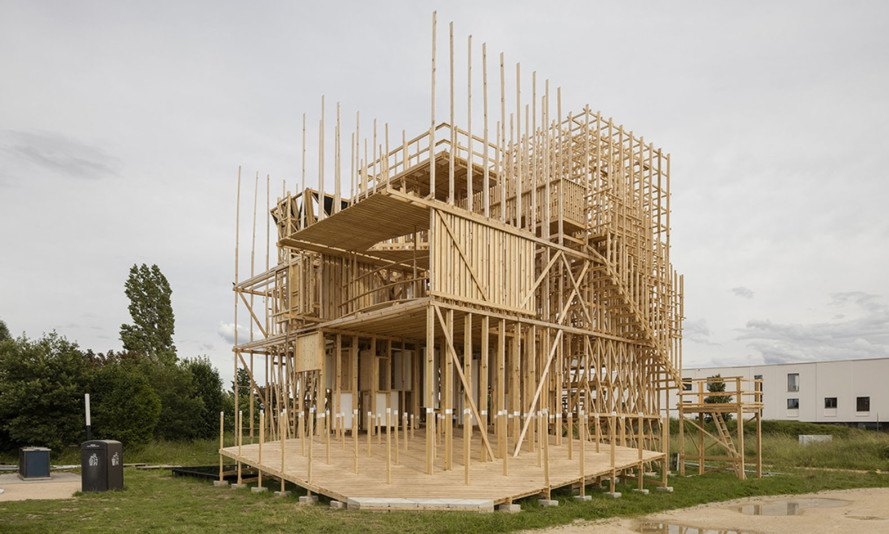 timber structure, Lausanne, EPFL ALICE, timber installation, Rolex Learning Center, student project, green architecture, timber, architecture student workshop, France