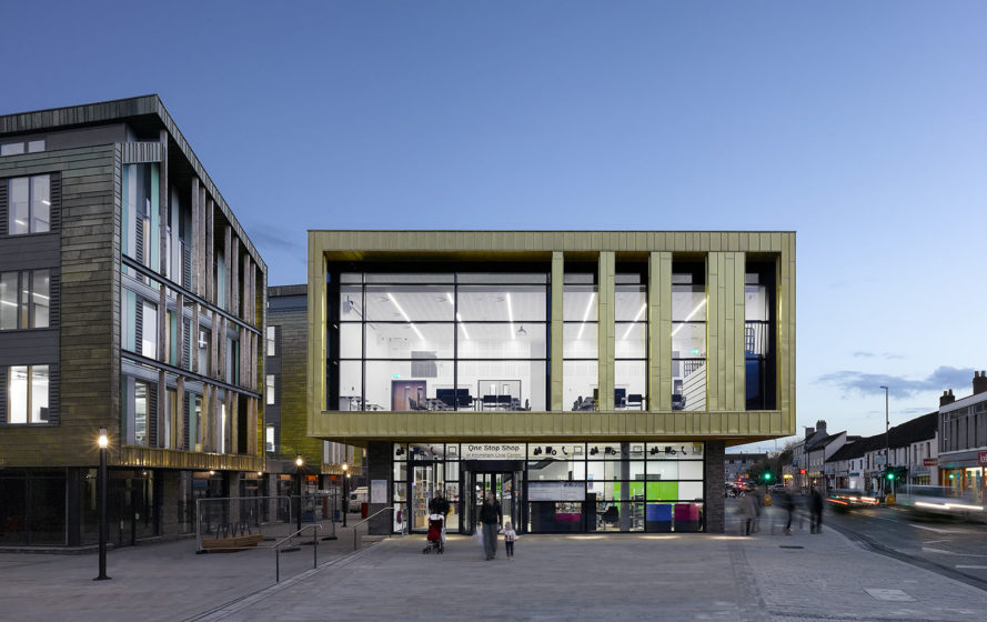 Keynsham Civic Center and One Stop Shop, cultural center, Bristol, green redevelopment, AHR Architects, retail spaces, public spaces, 2015 RIBA South West Sustainability Award, green architecture, pedestrian