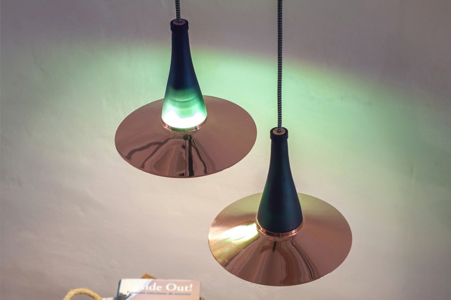 LaFlor Lamp, Dama Lamp, Lucirmás, Nutcreatives, upcycled glass bottle, glass bottles, PEFC, Plumen, green lighting, recyclable lighting, Dama Lamp by Lucirmás, LaFlor Lamp by Lucirmás