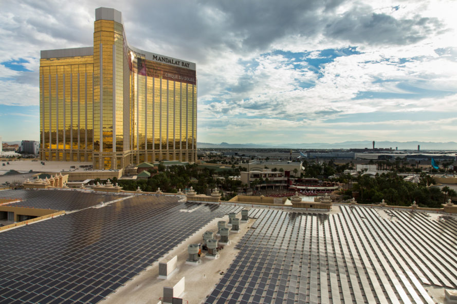 las vegas, nevada, mandalay bay resort and casino, mandalay bay convention center, mandalay bay rooftop solar array, nation's largest rooftop solar array, largest ooftop solar array in america, largest rooftop solar array united states,