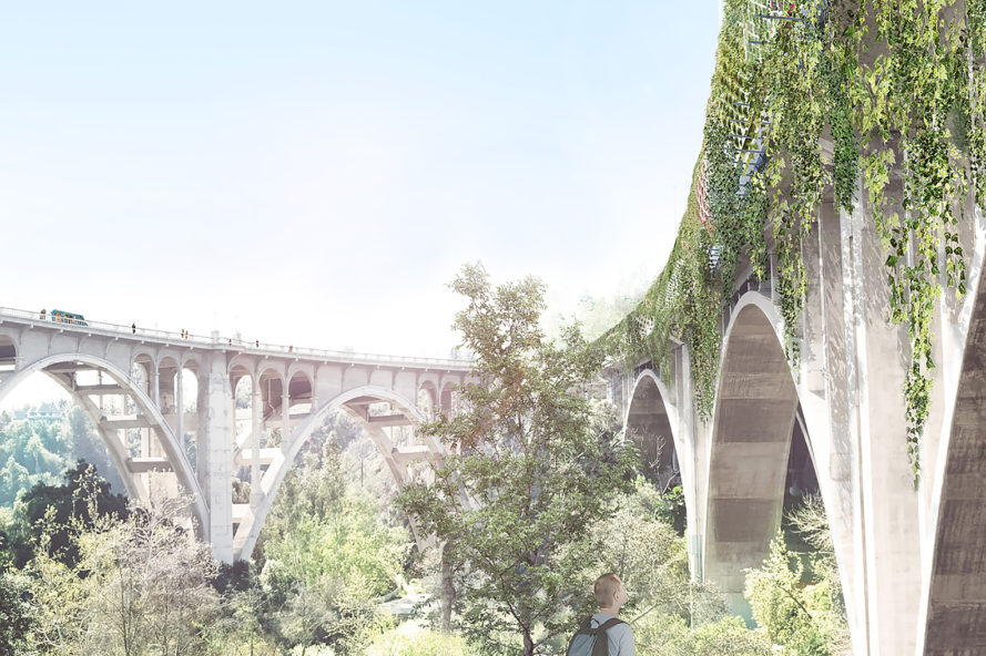 Michael Maltzan Architecture, Arup Los Angeles, Arroyo Seco Bridge, Arroyo Seco Bridge by Michael Maltzan Architecture, 134 Freeway, bridge, infrastructure, architecture, design, green freeway, green bridge, solar panels, rainwater collection, emissions, traffic, transportation