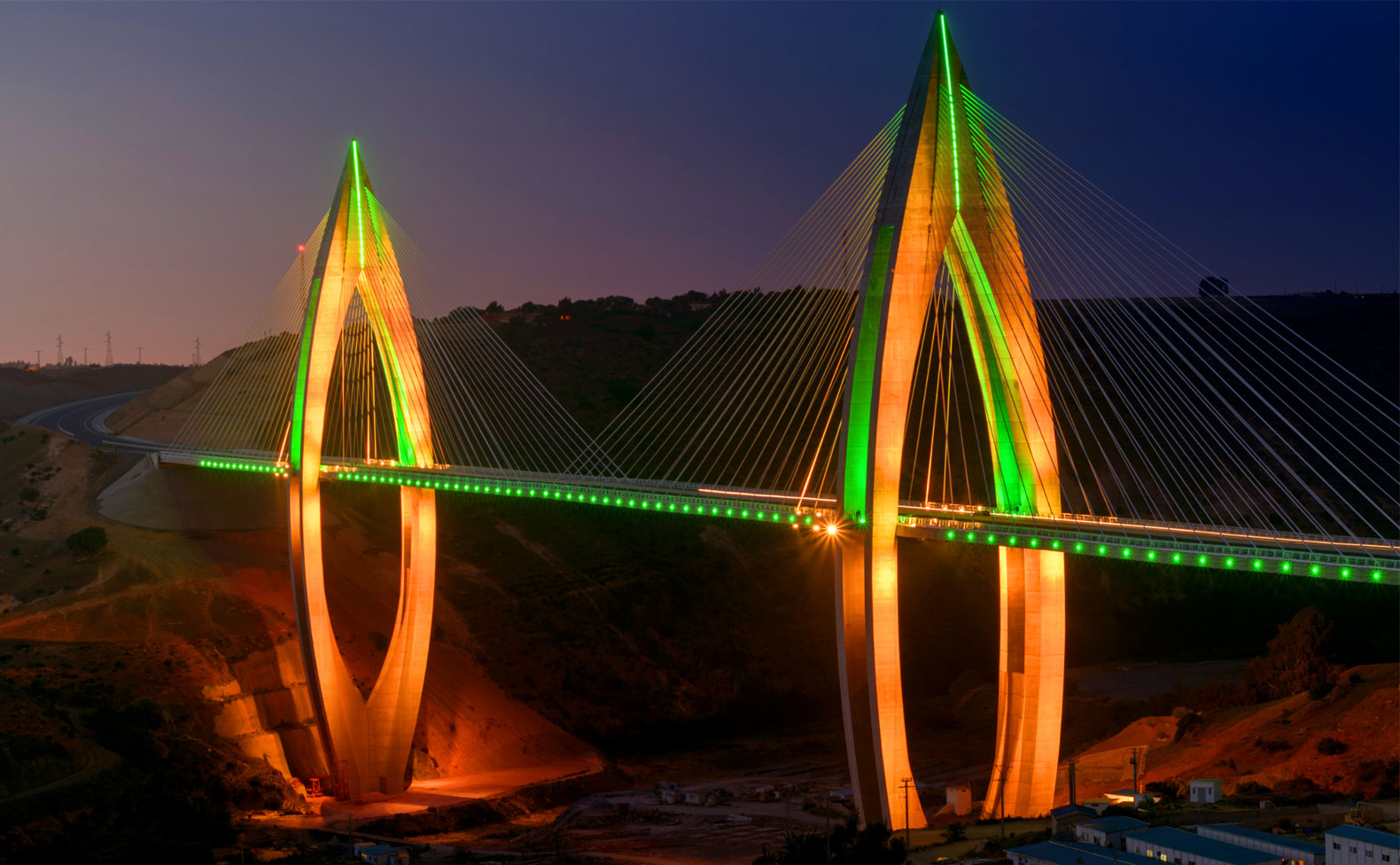 Longest cable-stayed bridge in Africa lit up with Philips LEDs