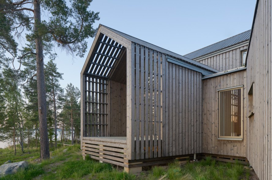 Each room of this Swedish villa extends outward for a private ...