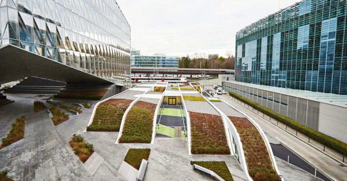 A Rolling Green Roof Between Two Corporate Buildings In