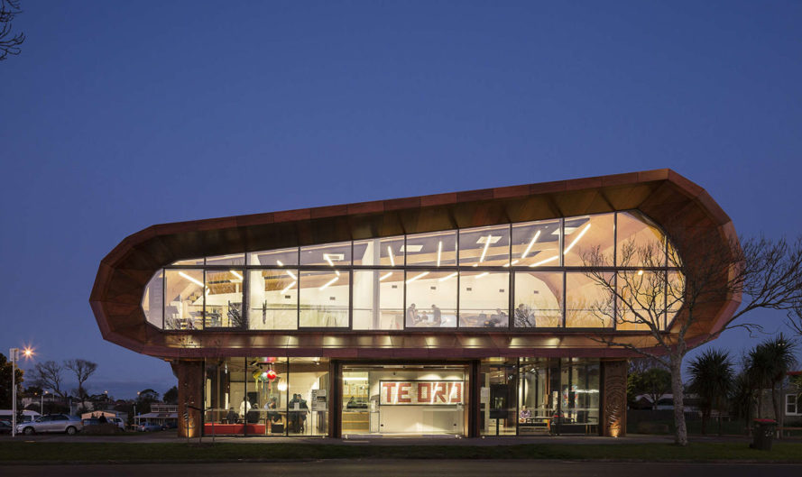 Te Oro Music and Arts Center, New Zealand, arts center, solar power, rainwater harvesting, timber canopy, wooden canopy, Archimedia architects, Maori patterns, green architecture