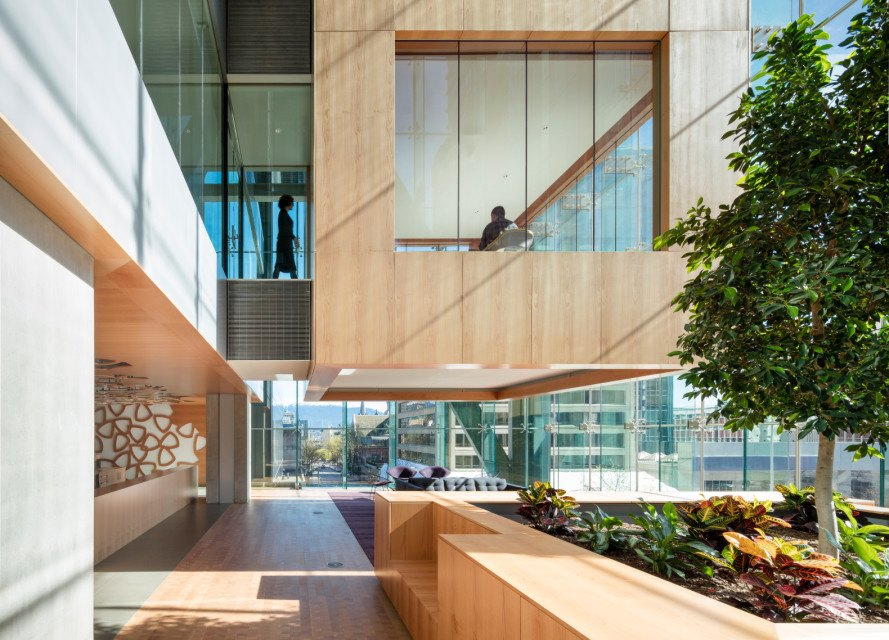 telus garden, vancouver, british columbia, canada, omb, office of mcfarlane biggar, company headquarters, rooftop terrace, solar power, natural ventilation, sustainable wood, locally sourced wood