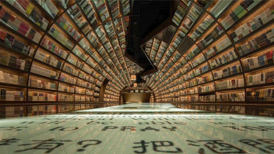 Yangzhou Zhongshuge bookshop, bookstore design, Zhongshuge bookshop, XL-Muse, shelving, green interior, retail space, wooden interior