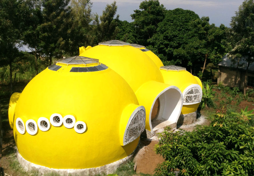 bright yellow dome home, Mama Dolfine's orphanage, Korando Educational Center, brick dome home, Kisumu dome home, Kenya dome home, dome home in Kenya, sustainable dome home, Torsten Kremser, Better Me Foundation