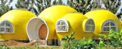 bright yellow dome home, Mama Dolfine