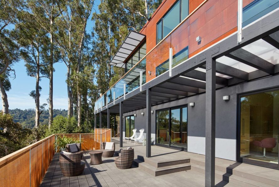 Zack deVito Architecture, energy-efficient home, terraced home, Tamalpais Residence, air quality, sliding glazed doors, recycled bamboo deck, corten steel rusty entrance