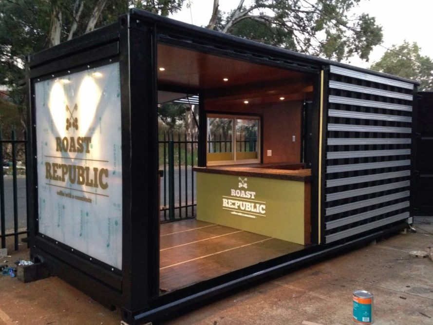 Old shipping container is converted into a chic coffee for Architectural design services near me