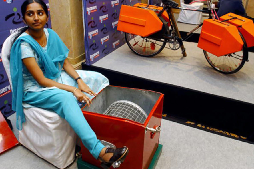 14 Year Old Girl Invents Pedal Powered Washing Machine