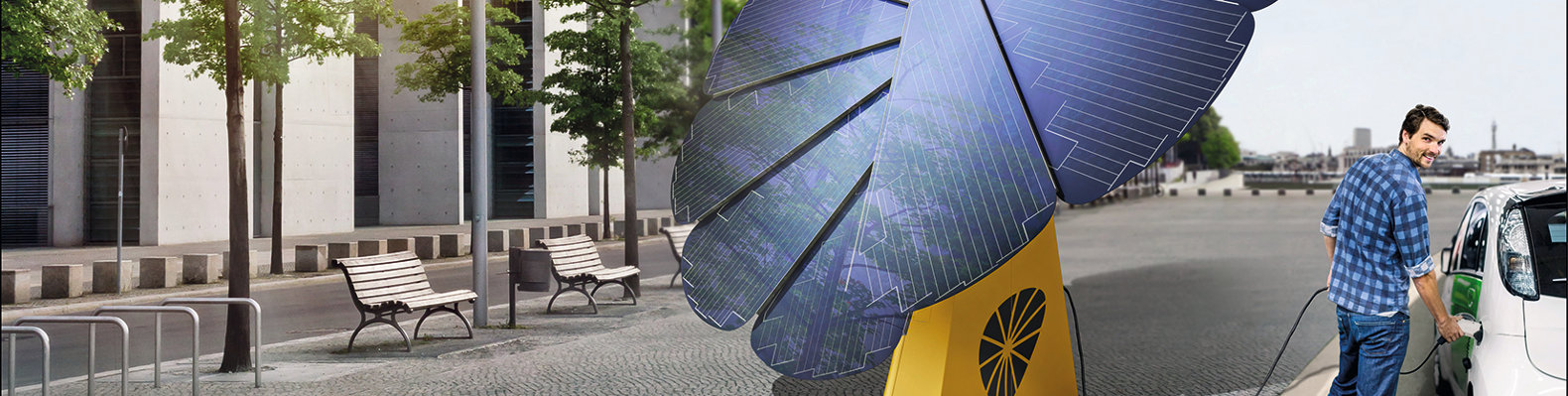 Portable smartflower POP solar system produces 40% more energy