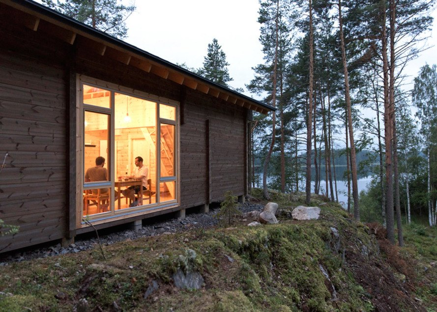 Cabin K by Studio Kamppari, Lake Saimaa cabin, iron oxide treated pine, pine wood cabin, pine cabin in Finland, traditional Finnish cabin,