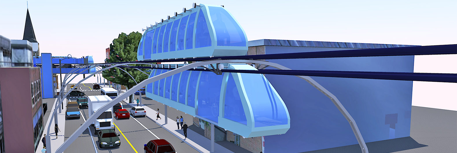 elevated caterpillar trains fly over traffic without blocking out