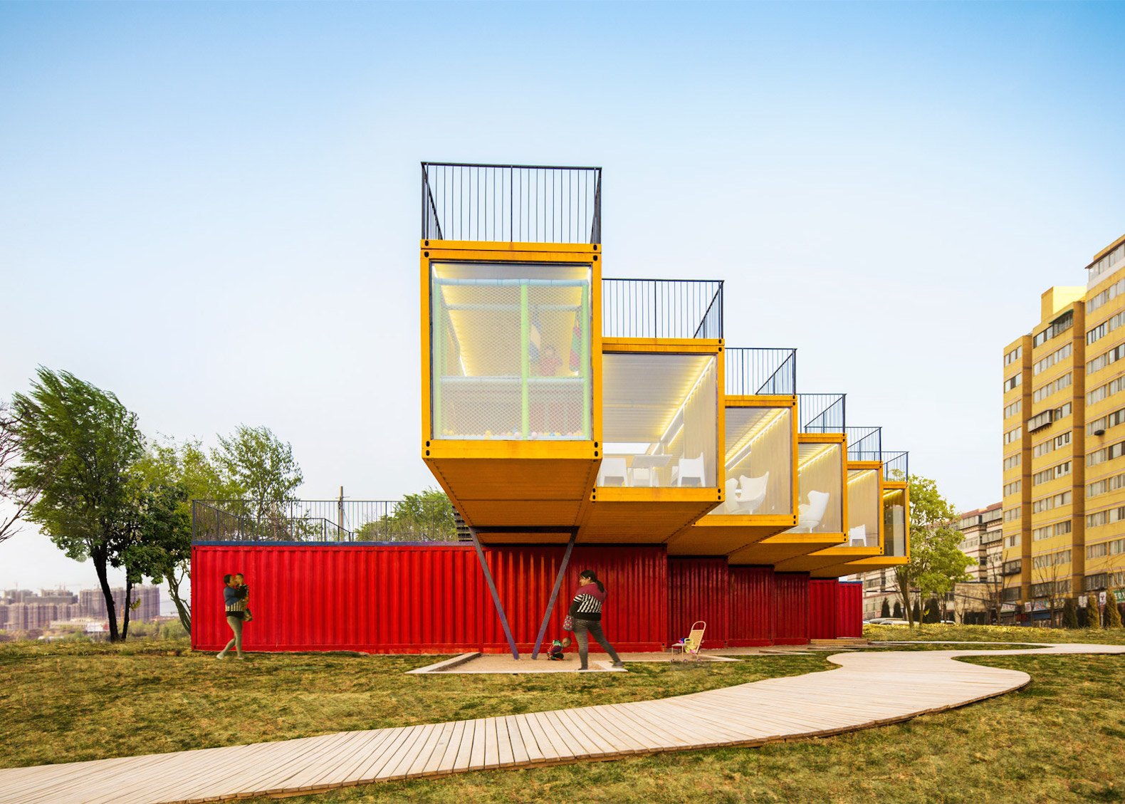 Shipping container architecture research - Shipping Containers Are Transformed Into A Colorful Office And Showroom In China