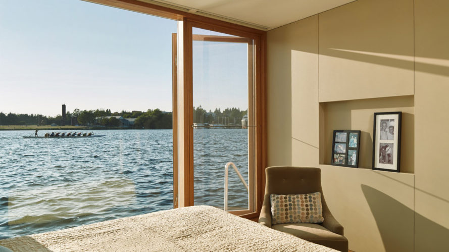 floating homes, Lake Union, floating residence, Seattle, Vandeventer + Carlander Architects, Dunn Floating Residence, green architecture, exotic wood, ceramic, natural light, waterfront, glass facade
