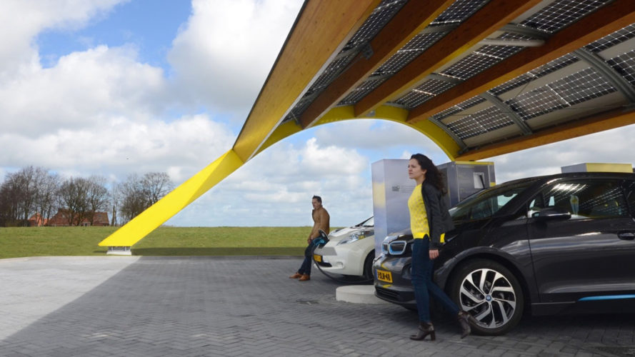 ev charging station, solar-powered electric vehicle charger, solar-powered ev charging station, netherlands, fastned, electric cars, electric vehicles, range anxiety