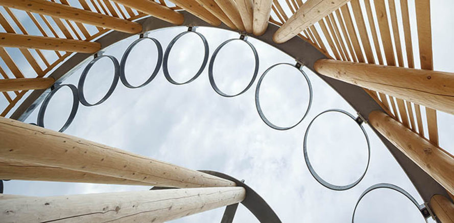 Hoop Dance Gathering Place, Mohawk College, Brook McIlroy, indigenous people,  Canada, Aboriginal, open air pavilion, timber pavilion, green architecture, traditional construction techniques