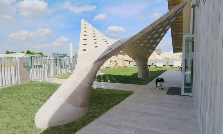 HyparGate, New Fundamentals Research Group, Polytechnic University of Bari, Roma Tre University, stereotomy, robotic fabrication, stone shell, hyperbolic paraboloid, green architecture, stone structure, France