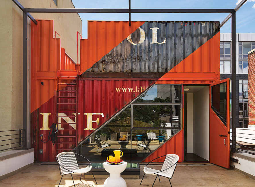 shipping container house in New York, Brooklyn carriage house renovation, carriage house renovation, shipping container retrofit architecture, cargotecture renovation, Irving Place Carriage House by LOT-EK