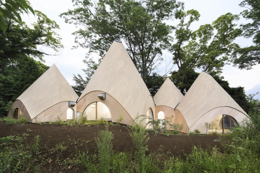 JIKKA by Issei Suma, teepee shaped architecture, architecture for elder care, teepee-shaped architecture in Japan, wheelchair accessible bath