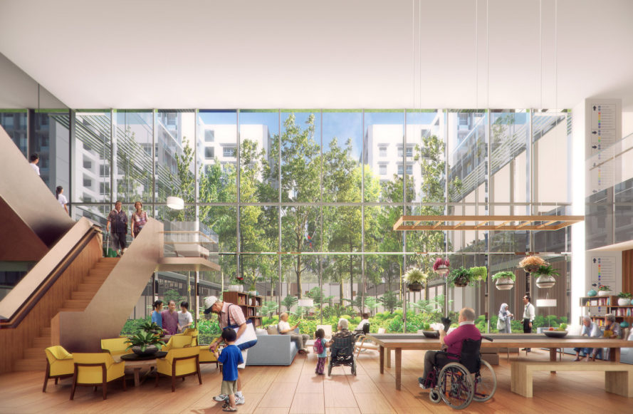 Kampung Admiralty by WOHA Architects, Kampung Admiralty Singapore, smart assisted living for cities, urban design for elderly, urban design for baby boomers, urban design for elder care
