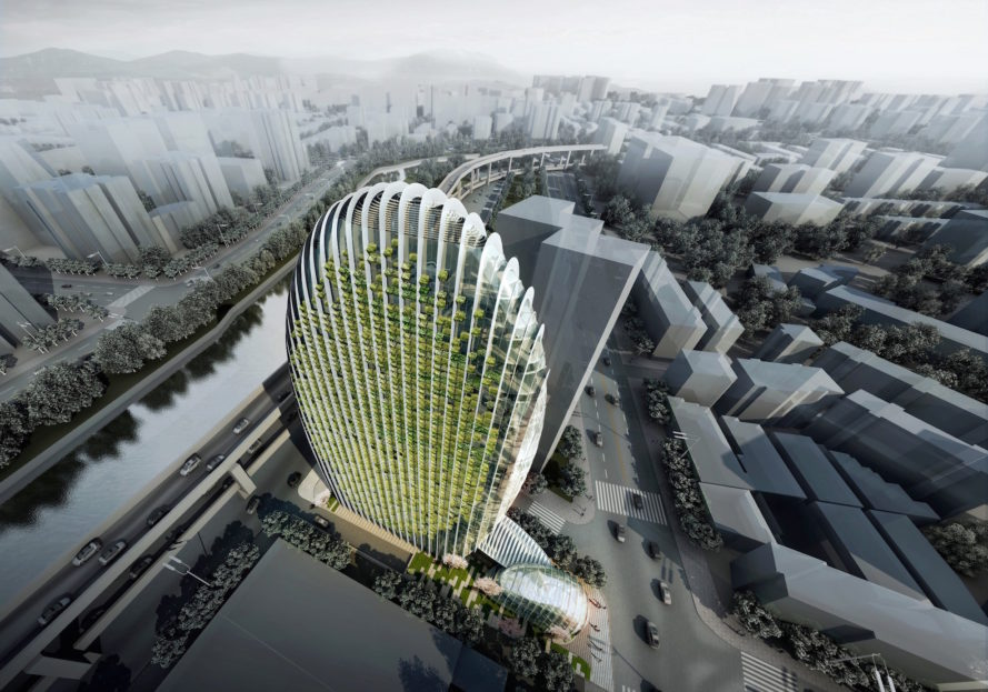 Lè Architecture by Aedas, Lè Architecture in Taipei, Lè Architecture Nangang, LEED Gold architecture in Taipei, LEED buildings in Taipei, sustainable architecture in taipei, vertical green wall Taipei