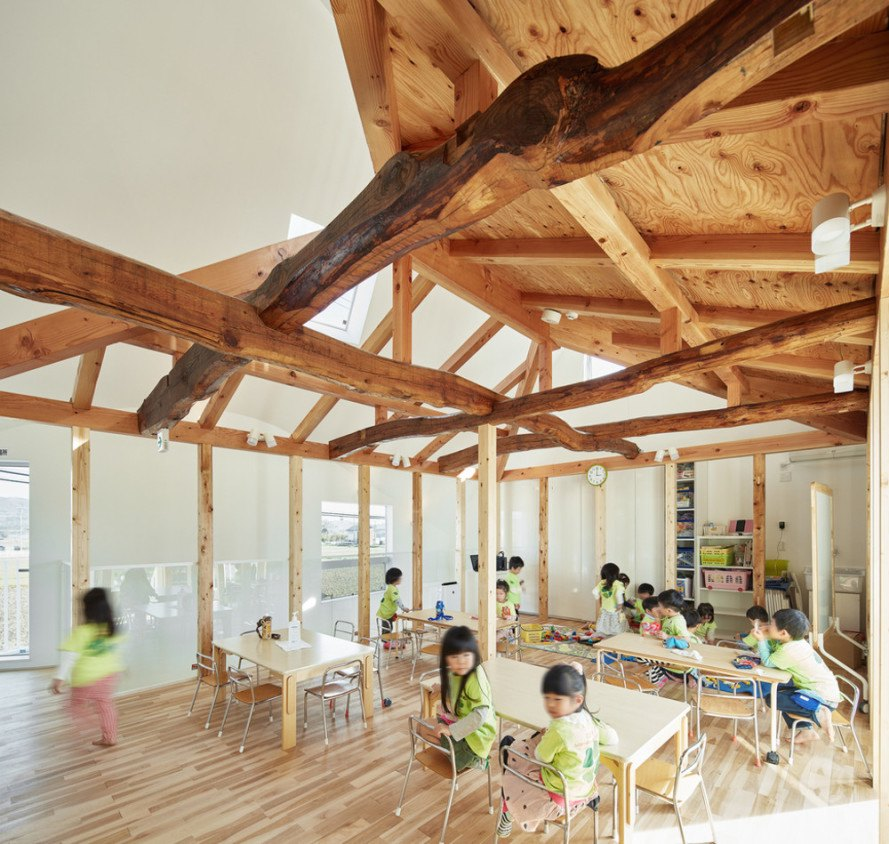 mad architects, japan, Okazaki, aichi prefecture, kindergarten, adaptive reuse, natural wood, renovation, japanese school, clover house